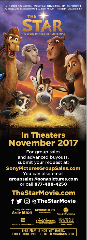 Ad for The Star animated Sony film in theaters November 2017