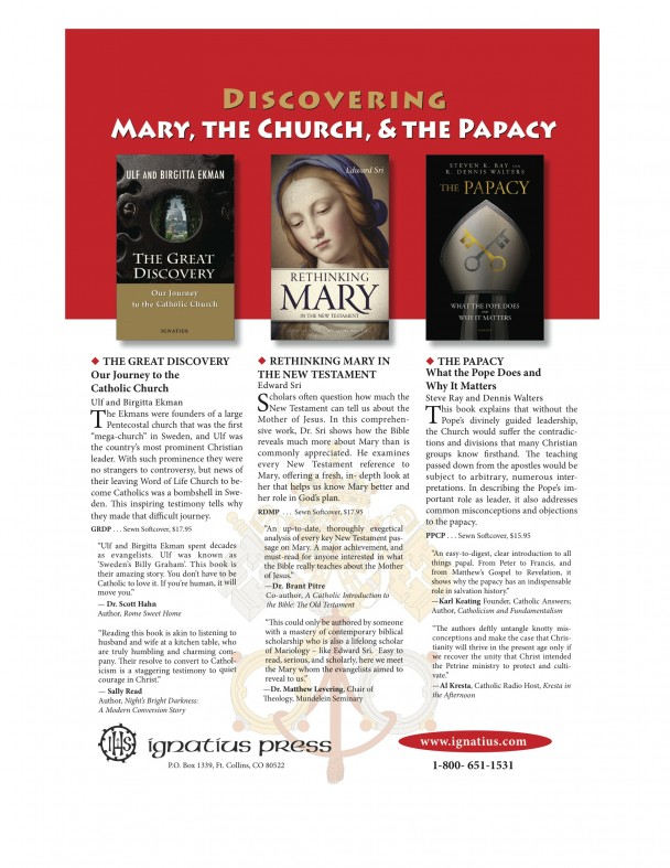 Ignatius Press ad for books on Mary, the Church and the Papacy