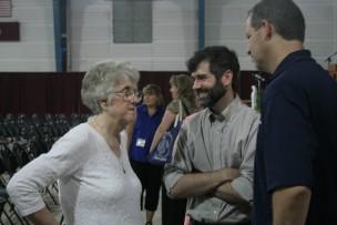 Photo of Barbara Morgan and two alumni Bob Rice and Jim Beckman