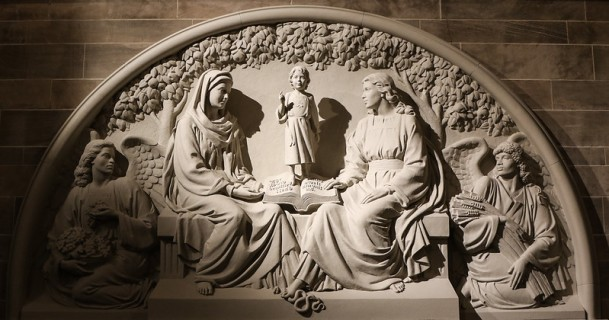 Sculptured relief of of the incarnate Word is in the Blessed Sacrament Cathedral in Detroit