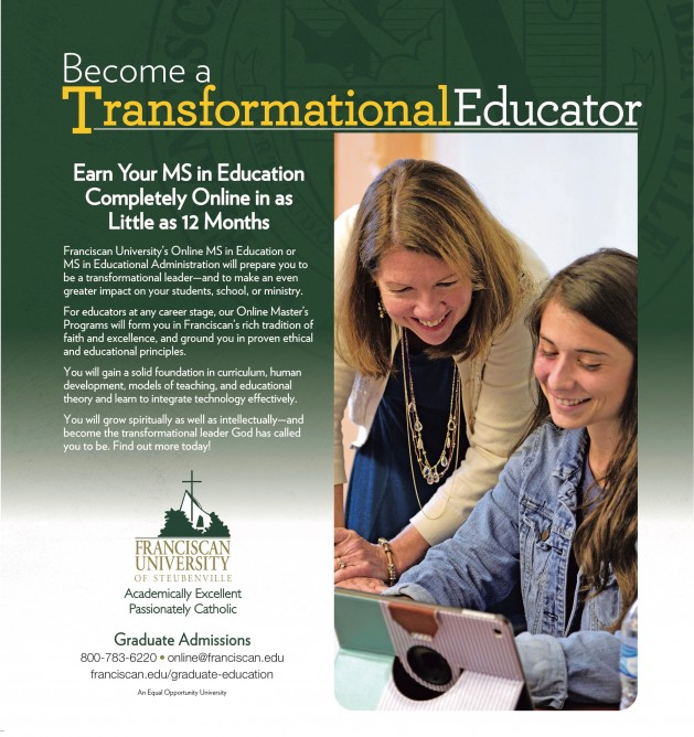 Ad for Franciscan University's Online Education Master's Degree
