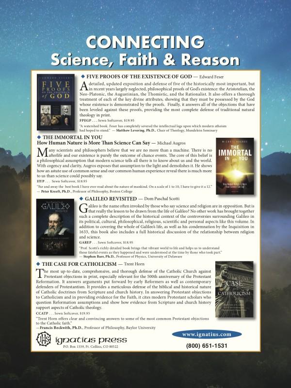 Advertisement for Faith & Reason books from Ignatius Press