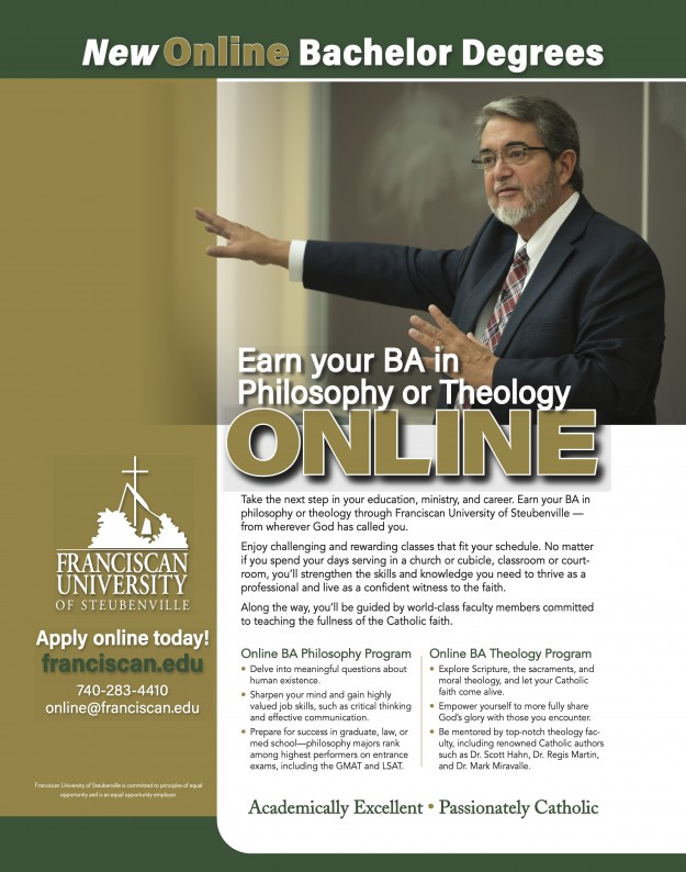 Ad for new undergraduate degrees in theology & philosophy at Franciscan University of Steubenville