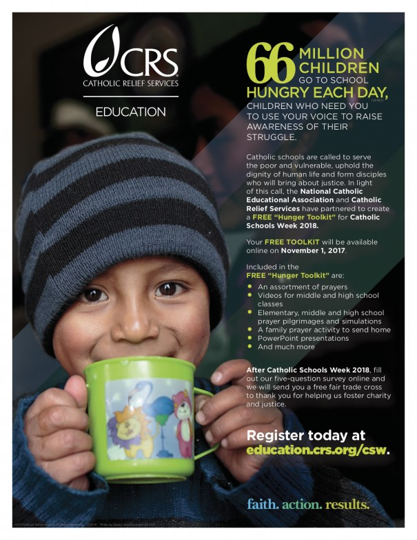 Catholic Relief Services' advertisement for Catholic Schools Week