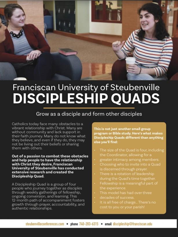 Discipleship Quads advertisement