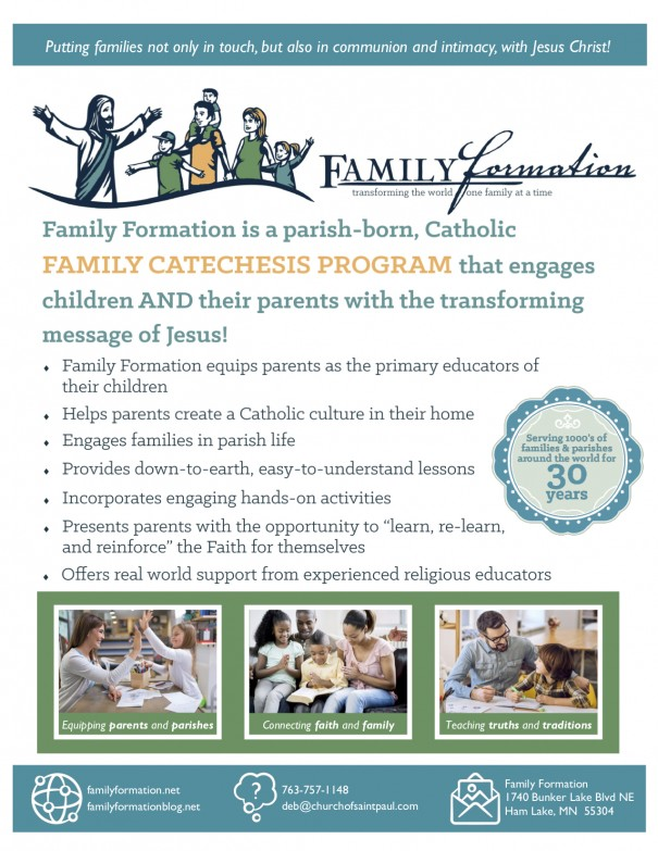 advertisement for family catechesis program