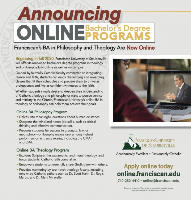 Ad for Franciscan University's Online Bachelor's Degree Programs