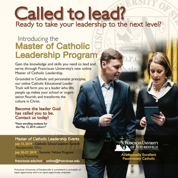 Advertisement for Master of Catholic Leadership Program