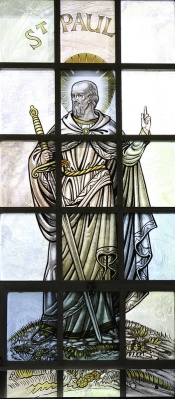 Stained glass window of St Paul is the Catholic Center of Dartmouth College, Hanover, by Fr. Lawrence Lew, OP