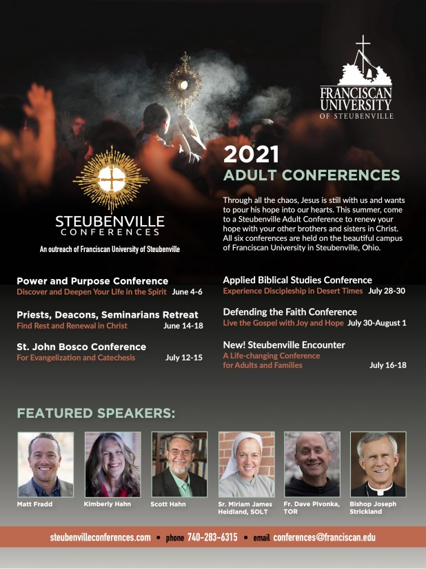 Ad for summer 2021 schedule of Steubenville Adult Conferences