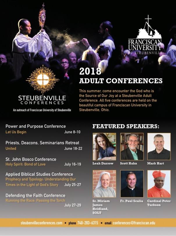 Advertisement fo the Summer 2018 Steubenville Conferences