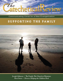 Cover of the July 2016 issue of The Catechetical Review, picture of family on beach