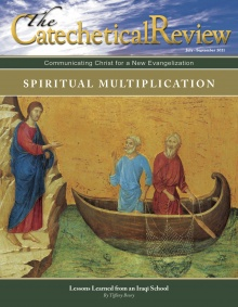 Cover July 2021 Catechetical Review Spiritual Multiplication-Icon image of Jesus on the shore calling disciples