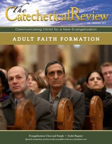 Cover of the July-September issue of The Catechetical Review on Adult Faith Formation, photo adults sitting in pews
