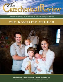 October issue on The Domestic Church, cover image of family at Baptism